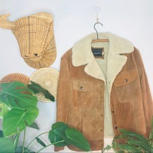 vtg retro 70s Suede Leather Sherpa Tan Jacket